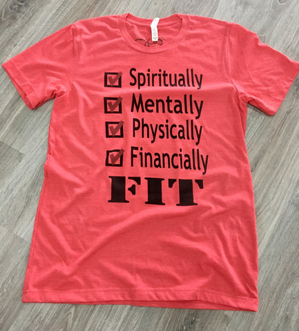 Spiritually Mentally Physically Financially FIT Tee Heather Red - Beyond Wynn