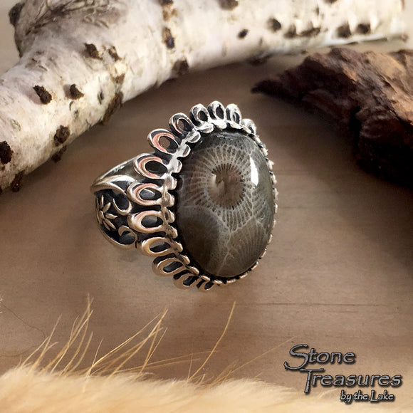 Petoskey Stone Ring - Stone Treasures by the Lake
