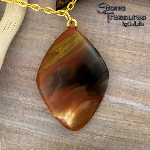 Rainbow Petrified Wood Cabochon - Stone Treasures by the Lake