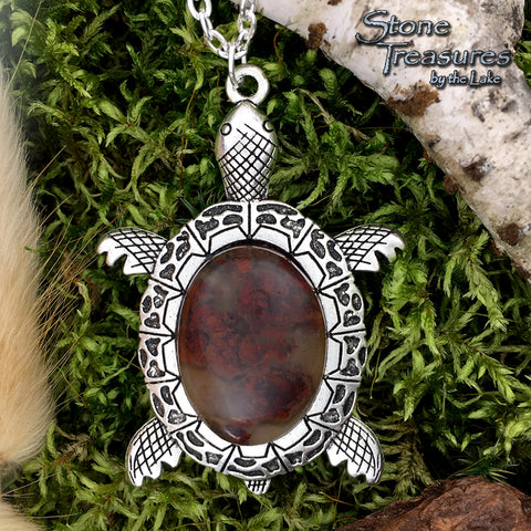 Moss Agate Turtle Pendant - Stone Treasures by the Lake