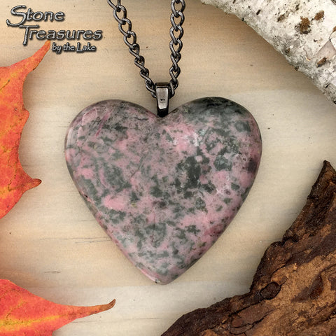 Thulite Heart Pendant - Stone Treasures by the Lake