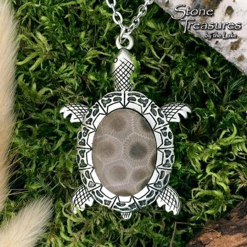 Petoskey Stone Turtle Pendant - Stone Treasures by the Lake