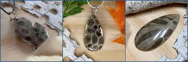 Petoskey Stone cabochons and artisan jewelry
