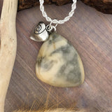 Lake Michigan Milky Quartz Pendant With Necklace Front View - Stone Treasures by the Lake