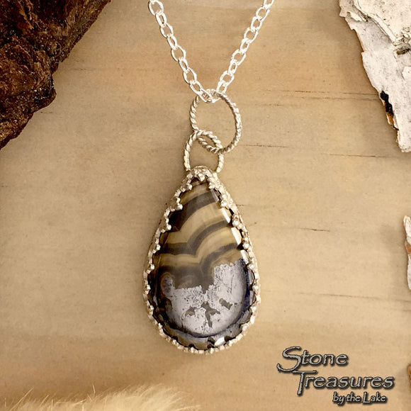 Schalenblende Pendant Necklace Front View - Stone Treasures by the Lake