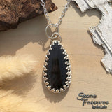 Hypersthene Pendant Necklace Front View2 - Stone Treasures by the Lake