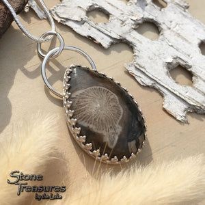 Thamnopora Fossil Pendant Necklace Front View - Stone Treasures by the Lake