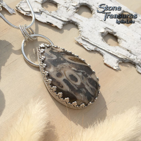 Aulocystis Fossil Pendant Necklace Front View - Stone Treasures by the Lake