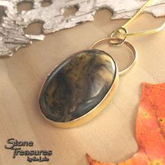Yellow Feather Jasper Pendant Necklace Front View  - Stone Treasures by the Lake