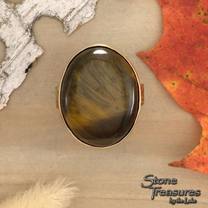 Tiger Eye Ring Front View - Stone Treasures by the Lake