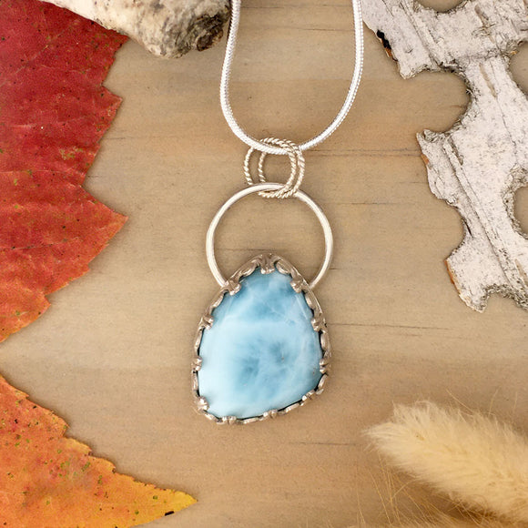 Larimar Pendant Necklace Front View - Stone Treasures by the Lake