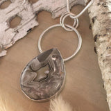 Laguna Lace Agate Pendant Necklace Front View II - Stone Treasures by the Lake