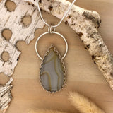 Yellow Skin Agate Pendant Necklace Front View - Stone Treasures by the Lake