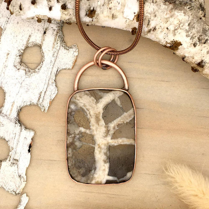 Lake Michigan Septarian Pendant Necklace Front View - Stone Treasures by the Lake