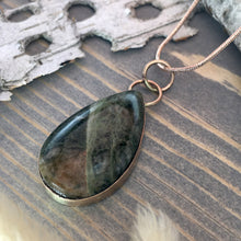 Load image into Gallery viewer, Lake Michigan Unakite Pendant Necklace Front View - Stone Treasures by the Lake