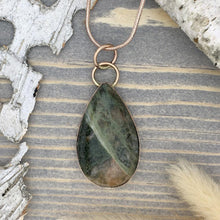 Load image into Gallery viewer, Lake Michigan Unakite Pendant Necklace Front View II - Stone Treasures by the Lake