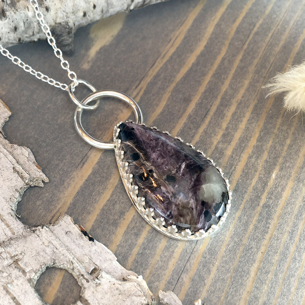 Charoite Pendant Necklace Front View - Stone Treasures by the Lake
