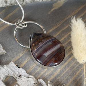 Sarape Jasper Pendant Necklace Front View- Stone Treasures by the Lake