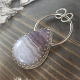 Amethyst Lace Pendant Front View - Stone Treasures by the Lake