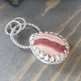 Rhodochrosite Pendant Front View II - Stone Treasures by the Lake