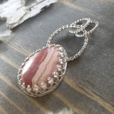 Rhodochrosite Pendant Front View - Stone Treasures by the Lake