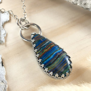 Rainbow Calsilica Pendant Necklace Front View - Stone Treasures by the Lake