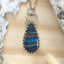 Load image into Gallery viewer, Rainbow Calsilica Pendant Necklace Front View III - Stone Treasures by the Lake