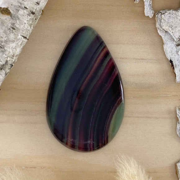 Rainbow Fluorite Cabochon Front View - Stone Treasures by the Lake