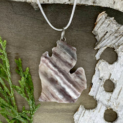 Kona Dolomite Michigan Pendant Necklace Front View - Stone Treasures by the Lake