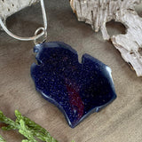 Goldstone Michigan Pendant Necklace Front View II - Stone Treasures by the Lake