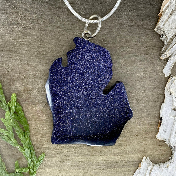 Goldstone Michigan Pendant Necklace Front View - Stone Treasures by the Lake