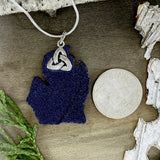 Goldstone Michigan Pendant Necklace Back View - Stone Treasures by the Lake