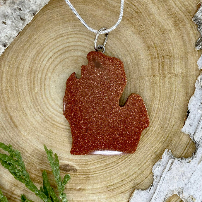 Michigan Shaped Goldstone Pendant Necklace Front View - Stone Treasures by the Lake