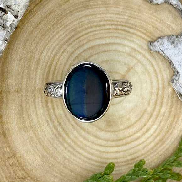 Spectrolite Ring Front View - Stone Treasures by the Lake