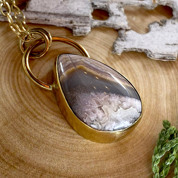Flower of Peach Agate Pendant Necklace Front View - Stone Treasures by the Lake