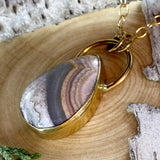 Flower of Peach Agate Pendant Necklace Front View II - Stone Treasures by the Lake