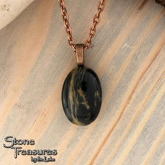 Basalt Cabochon Pendant with Necklace - Stone Treasures by the Lake
