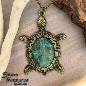 Fuchsite Stone Turtle Pendant with Necklace - Stone Treasures by the Lake
