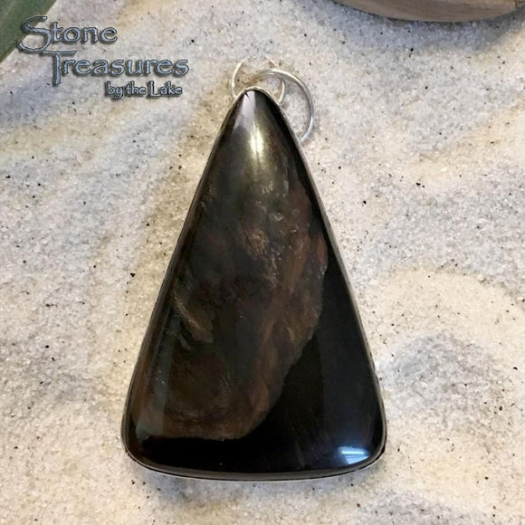 Glass Buttes Fire Pit Obsidian Sterling Silver Pendant - Stone Treasures by the Lake