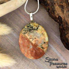 Handcrafted Lake Michigan Feldspar Granite Pendant Necklace - Pendant with necklace