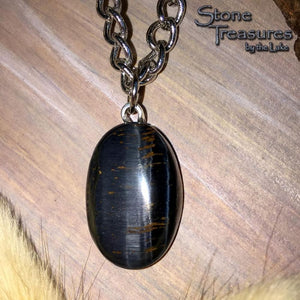 Hawk's Eye Cabochon Pendant with Necklace - Stone Treasures by the Lake
