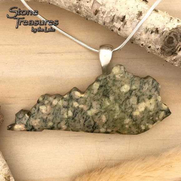Kentucky-Shaped Granite Pendant Necklace - Stone Treasures by the Lake