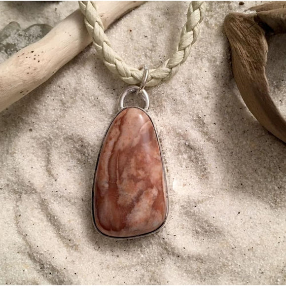 Lake Michigan Chert Pendant with Leather Cord Necklace - Stone Treasures by the Lake