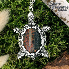 Lake Michigan Granite Turtle Pendant with Necklace - Stone Treasures by the Lake