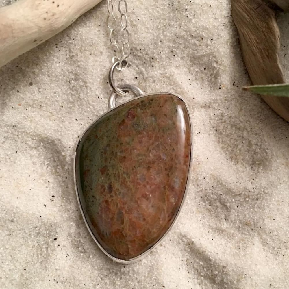 Lake Michigan Unakite Stone Pendant with Necklace - Stone Treasures by the Lake