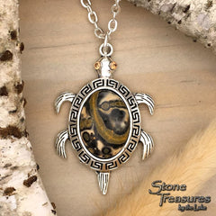 Leopardskin Jasper Turtle Pendant - Stone Treasures by the Lake