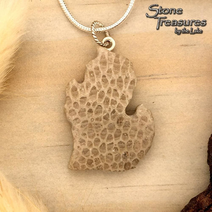 Michigan-Shaped Charlevoix Stone Pendant - Stone Treasures by the Lake