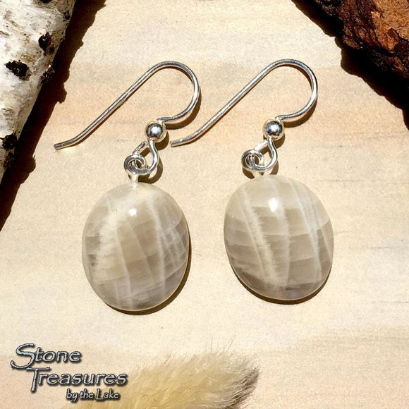 Moonstone Earrings Front View - Stone Treasures by the Lake