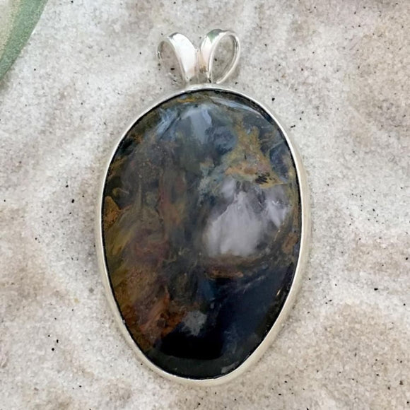 Pietersite Pendant Front View - Stone Treasures by the Lake