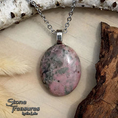Thulite Pendant Necklace Front View - Stone Treasures by the Lake